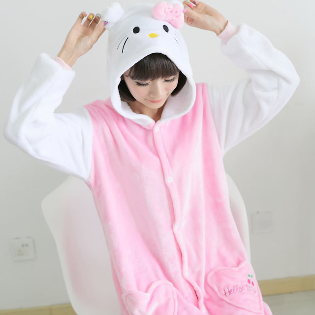 Cartoon Animal Kigurumi Long Sleeve Hooded Onesie Women Cute Cat Onsie Winter Homewear Onesies For Adults