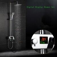 Воды питание цифровой Дисплей смеситель для душа, набор для душа Нет необходимости Батарея 8 дюймов дождь Насадки для душа ванна смеситель к