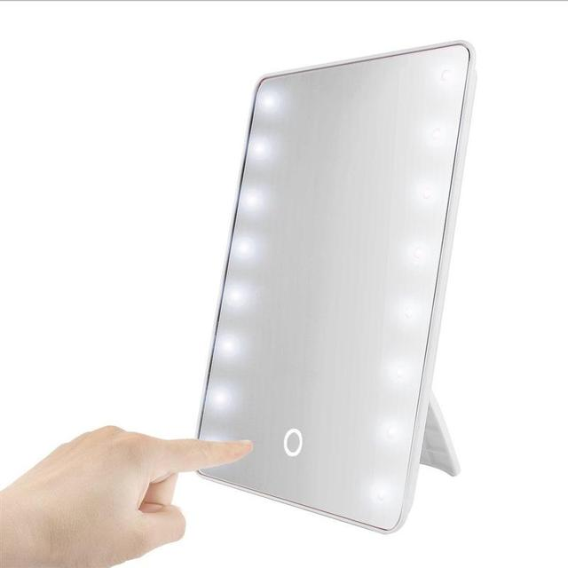 RUIMIO Makeup Mirror with 16 LEDs Cosmetic Mirror with Touch Dimmer Switch Battery Operated Stand for Tabletop Bathroom Travel 1