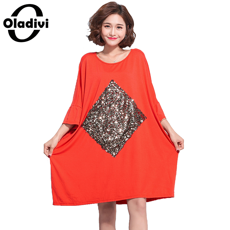 f4648ee8b3a Oladivi Brand Plus Size Women Clothes Casual Loose Sequins Summer Dresses  Ladies Cotton Dress Long Tunic 2018 Vestidos Femininos
