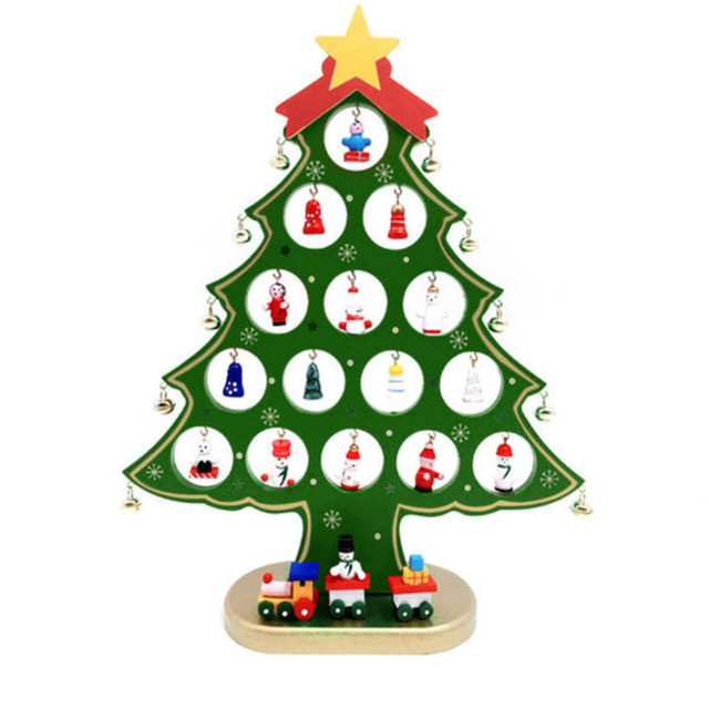 christmas wooden desktop ornaments mini xmas tree small diy wood table decorations hanging jingle bells arbol - Small Decorations For Christmas