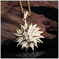 45*45mm 26g Top Design Exaggerated Smiling Face 316L Stainless Steel Gold Plated Sun Pendant Necklace Free Rope Chain