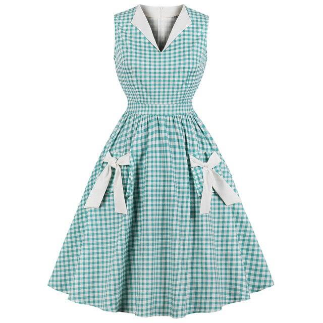 Wipalo Хепберн Винтаж платье Для женщин зеленый клетчатый принт бантом карманы Pin Up Vestidos Лето-Line Платья для вечеринок плюс Размеры