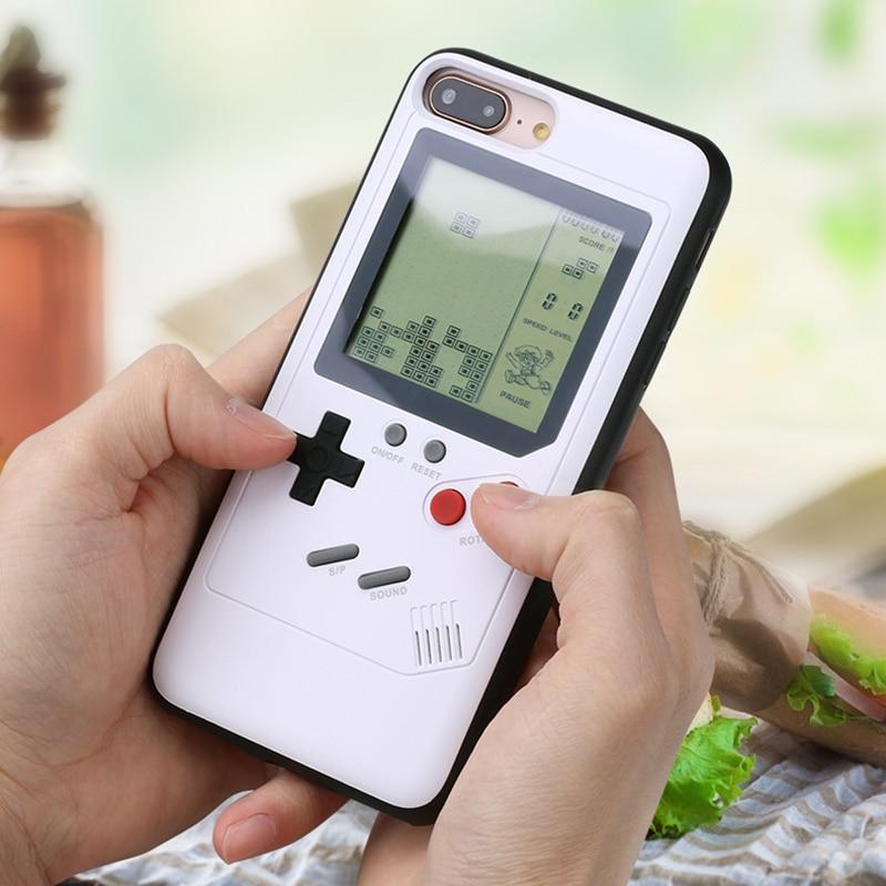 Ninetendo Tetris Gameboy Téléphone Cas Pour iPhone 6 6 s Plus Cas Doux Bord Jeu Console couverture Arrière Pour iPhone X 7 8 Plus cas