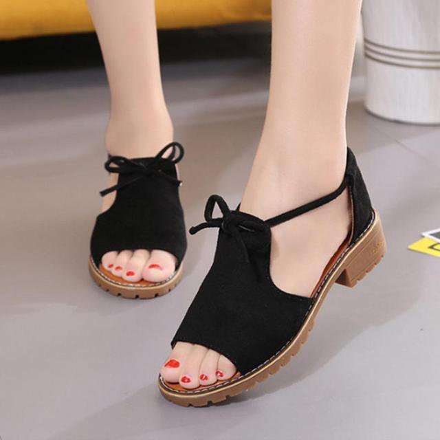 844407be9d4 Summer Platform Sandals Fish Mouth Women Sandals Pu Suede Retro High Heels  Square Heel Woman Lace Up Shoe Plus size