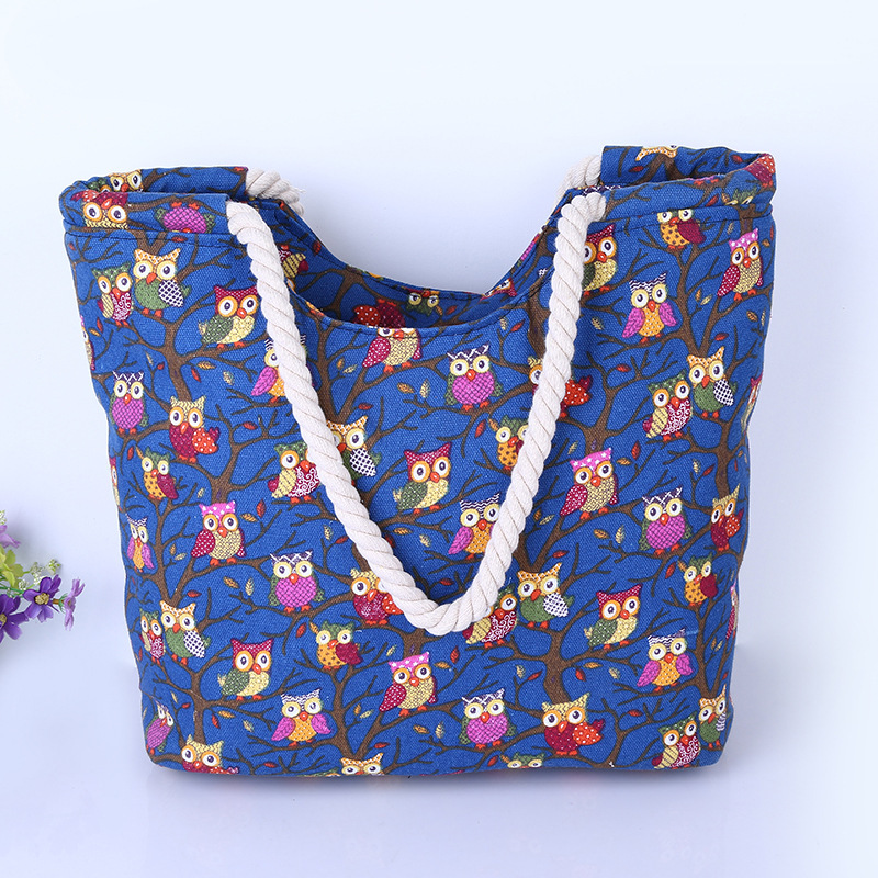 Cute Owl Large Canvas Shopping Tote Bag Big Shoulder Bags for Woman Bag Summer Beach Handbag Women Messenger Fashion 2016 rainbow stripes tote bag stylish hollow out beach bag ladies shoulder handbag summer shopping bag for women big m47