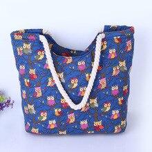 Симпатичные Сова большая холщовой мешок большой плечо Сумки для женщины сумка летняя пляжная сумка Женщины Мода