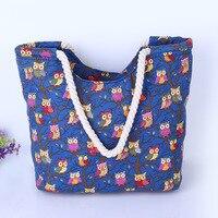 Cute Owl Large Canvas Shopping Tote Bag Big Shoulder Bags For Woman Bag Summer Beach Handbag