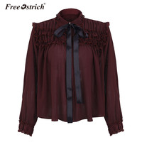 Free Ostrich Blouse Shirt 2018 Spring Sexy Ruffle Wine Red Chiffon Blouse Women Bow Ribbon Pearls