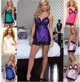 HOT  2016 Summer sexy lingerie women sexy silk sleepwear ladies lace slips 6 colors