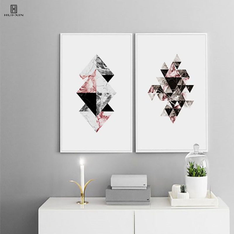 Three Intersecting Quadrangle Consist Of Four Color Triangles Drawing Abstract Lines Decorative Canvas Posters For Home Decor
