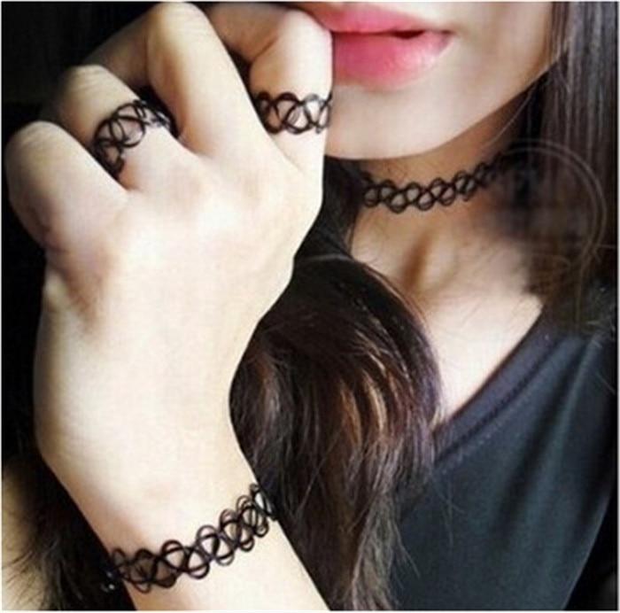 Durable 2016 New Fashion Women Collares Necklaces Black Retro Henna Vintage Elastic Tattoo Choker Stretch Free Shipping (12)
