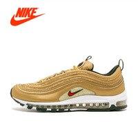 NIKE AIR MAX 97 Gold celebrity OG Men's Running Shoes Breathable Sports Sneakers homens New Arrival men shoes men
