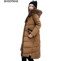 2017New Winter Parkas Slim Women Long Large Fur Collar Jackets Coat Female Thick Warm Cotton Hood Parkas Plus Size Outwear A003