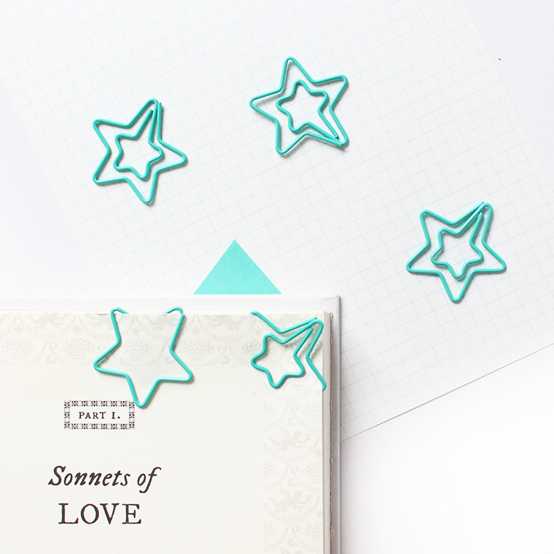 15PCS/LOT Star Shape Paper Clips Mint Green  Color Funny Kawaii Bookmark Office School Stationery Marking Clips