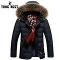 Tangnest 2017 venda quente homens parka homens jaqueta de inverno moda com capuz chapéu destacável homens jaqueta casual quente de boa qualidade mwm1581