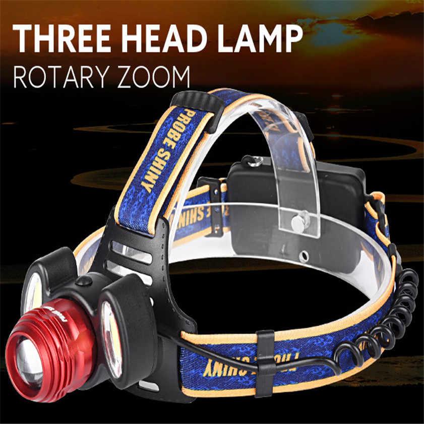 Высокое качество 15000Lm 3x XML T6 Перезаряжаемые налобный фонарь Налобный осветитель фонарик USB лампа + 18650 + Зарядное устройство