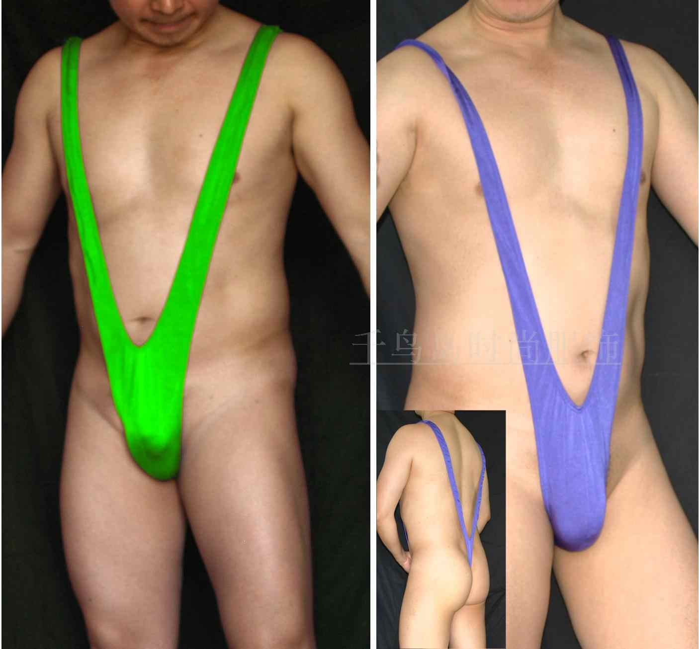 Fashion popular borat mankini swimsuit mens thong deep V-neck