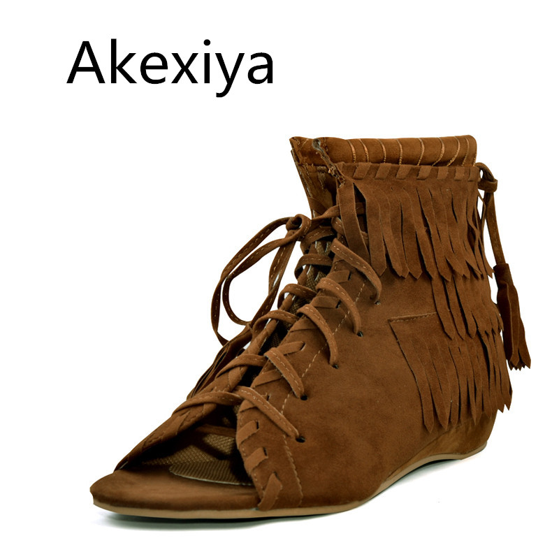 Akexiya Vintage Tassel Gladiator Sandals 2017 Summer Style Flats Shoes Woman Suede Lace-Up Wedges Casual Women Shoes Size 35-40 phyanic 2017 gladiator sandals gold silver shoes woman summer platform wedges glitters creepers casual women shoes phy3323