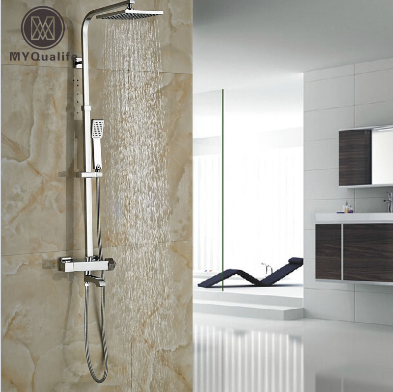 New Design Brass Chrome Shower Faucet Thermostatic Constant Temperature Shower Mixer Valve Taps with Tub Spout polished chrome wall mount temperature control shower faucet set brass thermostatic mixer valve with handshower