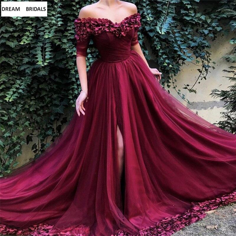 Noble Sexy v-cou longues robes de soirée 2019 Split vin rouge Tulle Appliques Robe de soirée femmes Robe de fête nouveau