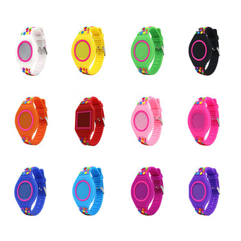 Boy girl LED Electronic Watch Silicone Band Colored Dots Decor Digital Wrist Watch TT@88