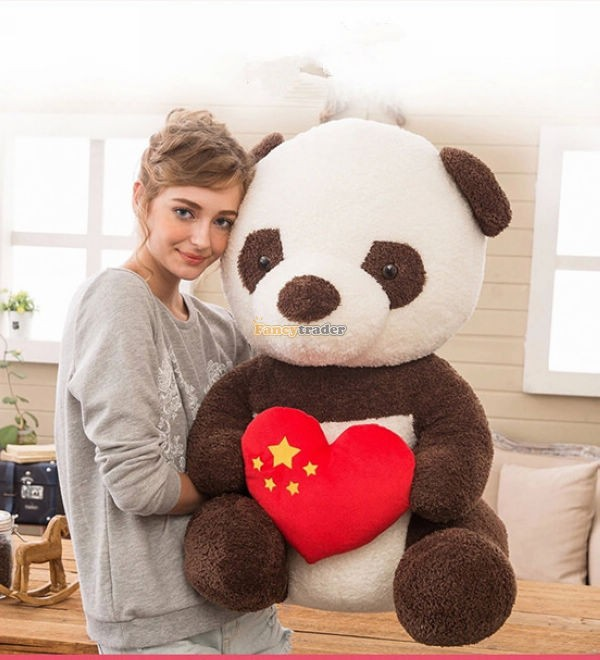 80cm Super Lovely Giant Chinese Panda Plush Doll Stuffed Panda Toy with Love Heart  Red Free Shipping 65cm 1pcs panda plush toy doll cute doll girl standing panda birthday gift wedding gift giant panda stuffed animal free shipping