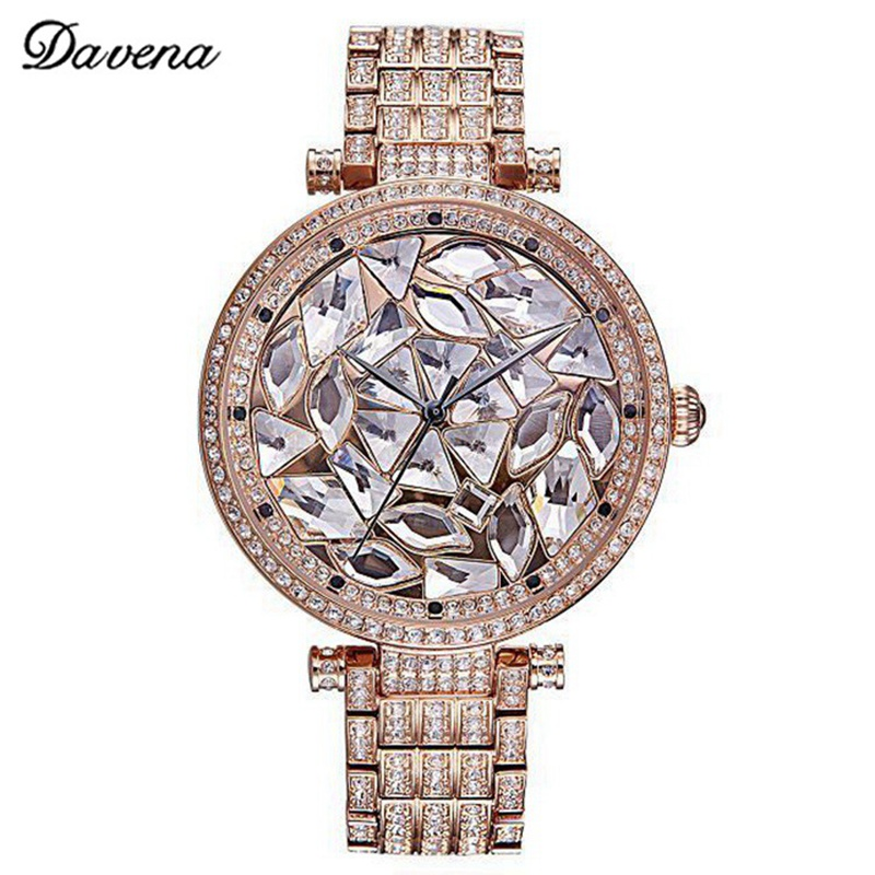 Lady Bling Luxury Crystal Women Dress Best Quality Rhinestone Watches Fashion Casual Quartz Watch Top Brand Davena 60656 Clock 2017 new arrivals famous brand full diamond luxury women watch lady dress watch rhinestone bling crystal bangle watches female