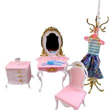 Для Барби гардеробная мебель с туалетным столиком Низкий шкаф пальто шляпа Вешалка стенд пальто стулья для куклы 1/6