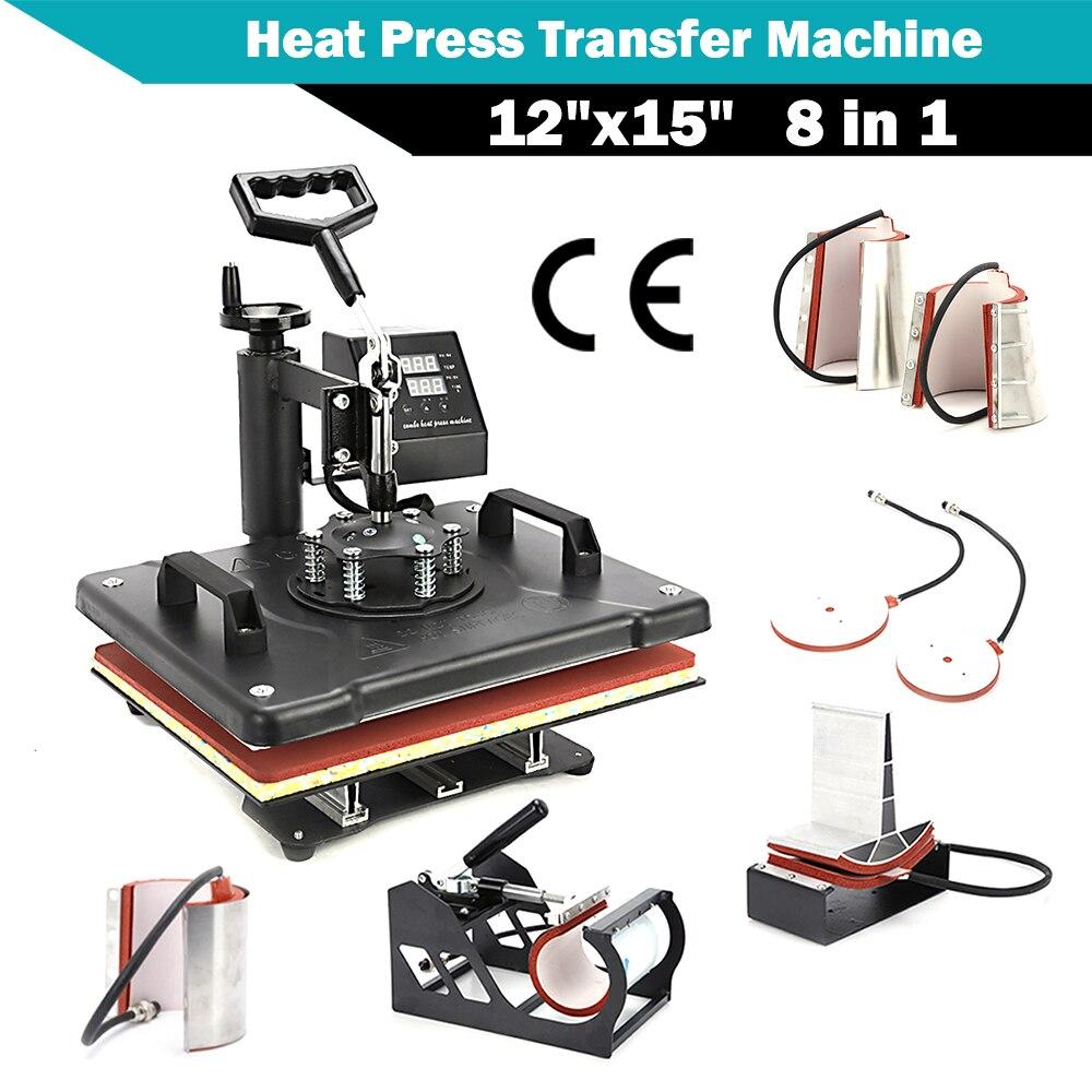 Dual Digital 8 In 1 Combo Swing-away Heat Press Transfer Machine Transfer Sublimation for T-Shirt Mug Hat Print 12