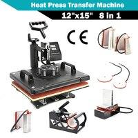 Dual Digital 8 In 1 Combo Swing away Heat Press Transfer Machine Transfer Sublimation for T Shirt Mug Hat Print 12 x 15