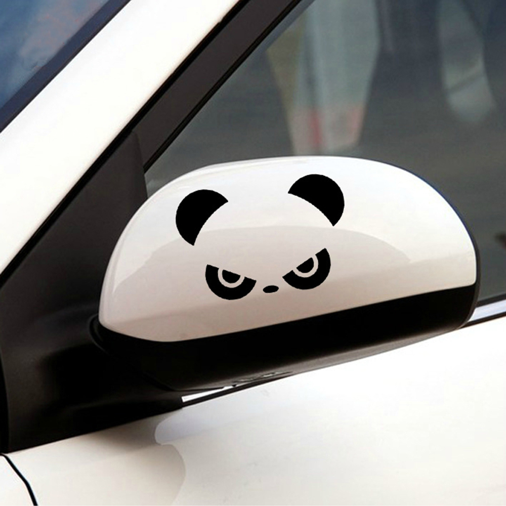 2pcs Auto Rearview Mirror Window Cover Panda Eyes Funny Vinyl Car Stickers and Decals Car Decor Accessories Window Door Decal