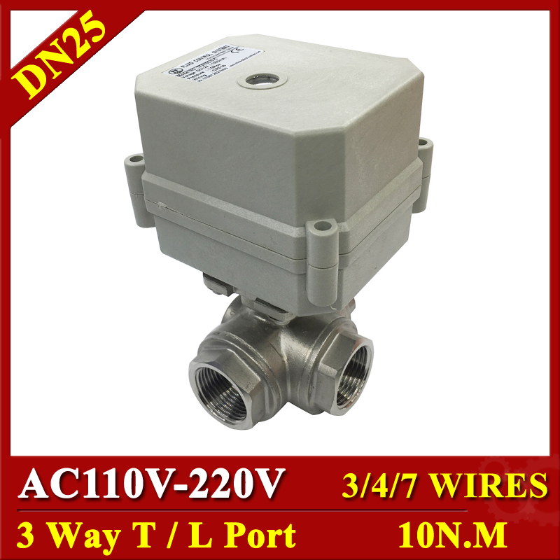 Tsai Fan 10Nm Electric Actuator With BSP NPT 1 3 way Stainless Steel Valve L T