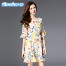 Фотография European Style Summer Dress Women 2017 New Sexy & Club Elegant Flowers Pattern Print Mini Silk Dresses For Ladies Clothing