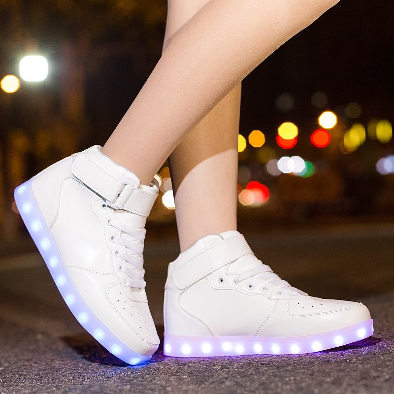 Classical Led <font><b>Shoes</b></font> for kids and adults USB chargering <font><b>Light</b></font> Up Sneakers for boys girls men women Glowing Fashion Party <font><b>Shoes</b></font> image