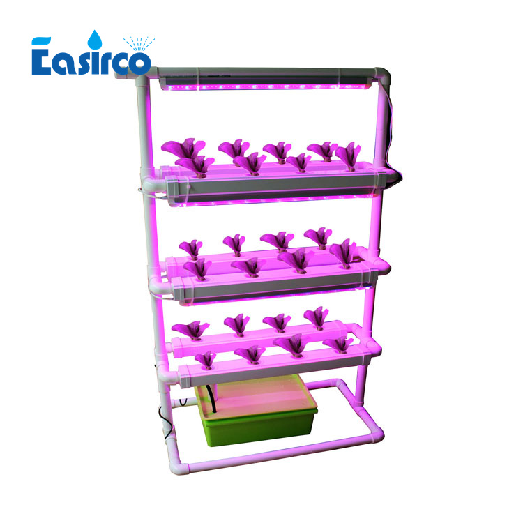 (Square pipe) Complete 24pcs net cup NFT Home Hydroponics system with grow light