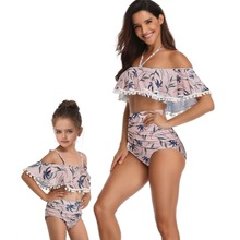 mother and daughter swimwear ruffled high waist swimsuits family look mommy me clothes matching outfits beach dress
