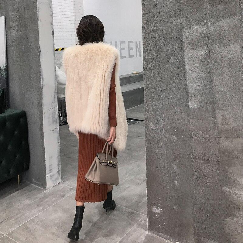 Manteaux Beige De Femme Longue Vêtements Long Vintage 2018 Renard Manteau Veste Femmes Zl608 Élégant Fourrure Hiver Gilet Réel Chaud Coréenne 4WwFqnaHH