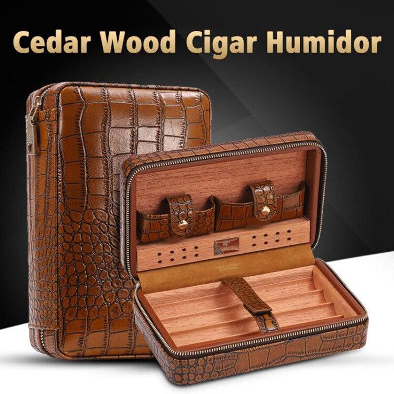 COHIBA Cigar Case Humidor For 4 Cigars Cedar Wood Lined Leather Travel Cigar Humidor Humidifier Set Gift Box (No lighter cutter)