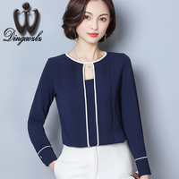 Dingaozlz 2018 New Korean Fashion Hollow Out Stitching Chiffon Blouse Shirt Elegant Female Chiffon Shirt Women