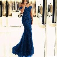 Синий Off the Shoulder Пром платья Кружева Аппликации Длинные Тюль Русалка Вечерние платья официальная Вечеринка Для женщин платья индивидуальны