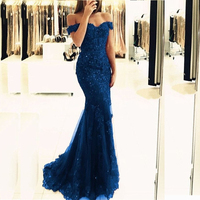 Blue Off the Shoulder Prom Gowns Lace Appliques Long Tulle Mermaid Evening Gowns Formal Party Women Dresses Custom Made
