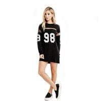Women Straight Dress Baseball 98 Number Printed Spring Autumn Long Sleeve Mesh Patchwork Dresses Korean T Shirt Dress SP395