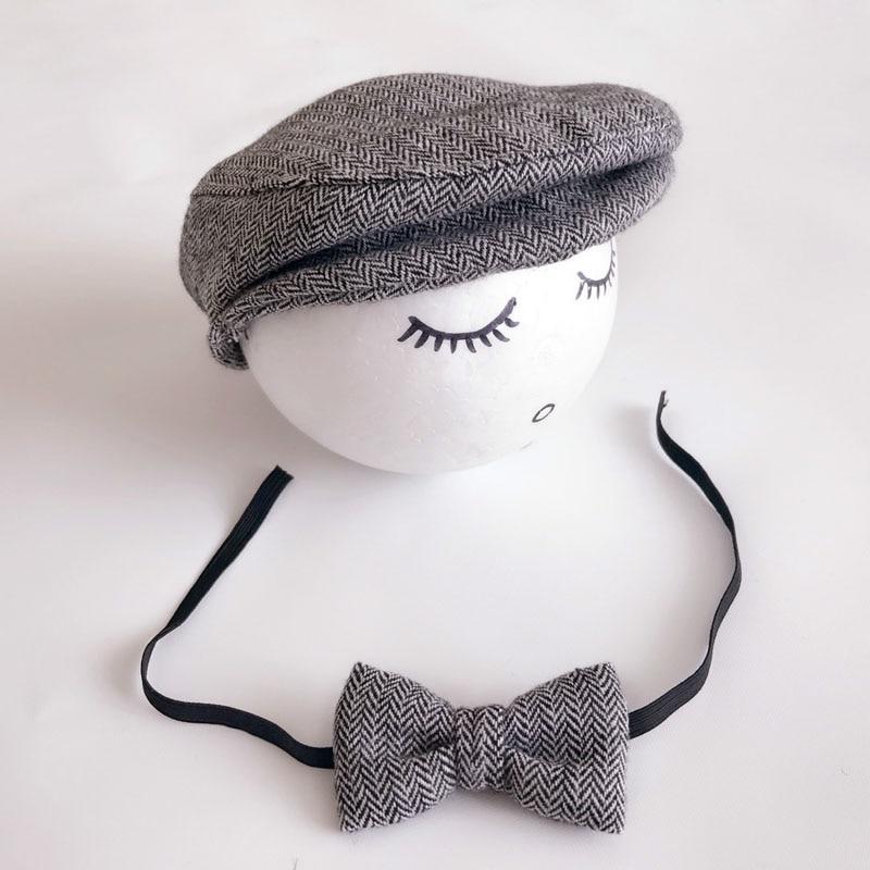 Crochet Baby Boy Gentleman Cap Bow Tie Set Տրիկոտաժե - Հագուստ նորածինների համար - Լուսանկար 3