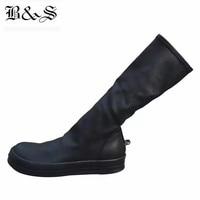 Black& Street 2018 Women Street Punk Rock Iron hook Genuine Leather + Stretch Fabric High 38cm Sock Boots Luxury Quality Boots