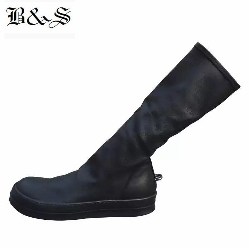 Noir & Street 2018 femmes rue Punk Rock fer crochet en cuir véritable + tissu extensible haute 38 cm chaussette bottes de luxe qualité bottes