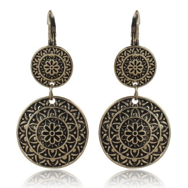 Fashion Vintage Tribal Ethnic Pendant Clip On Earrings Women Bohemian Antique Gold Color