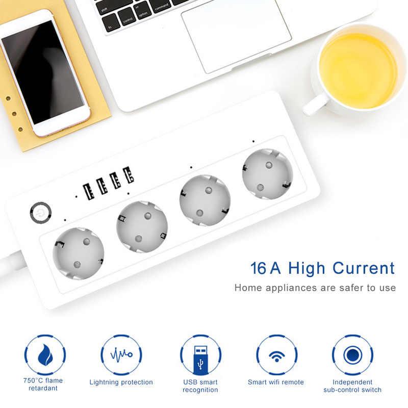 Tira de alimentación WiFi inteligente, Protector contra sobretensiones, múltiples tomas de corriente, 4 puertos USB, Control de voz para el temporizador de Google Home de Amazon Echo Alexa