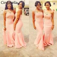 Cinderella African Peach One Shoulder Lace Applique Satin Mermaid Bridesmaid Dresses Zipper Back Floor Length