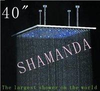 Бесплатная доставка 40 дюймов светодиодный душ голова с нержавеющей стали 1000*1000 с автономным питанием привело душем легкий душ три цвета 20022